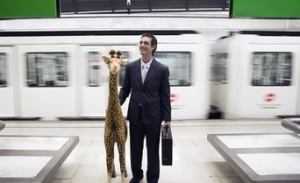 Commuting Businessman with Giraffe Stuffed Animal